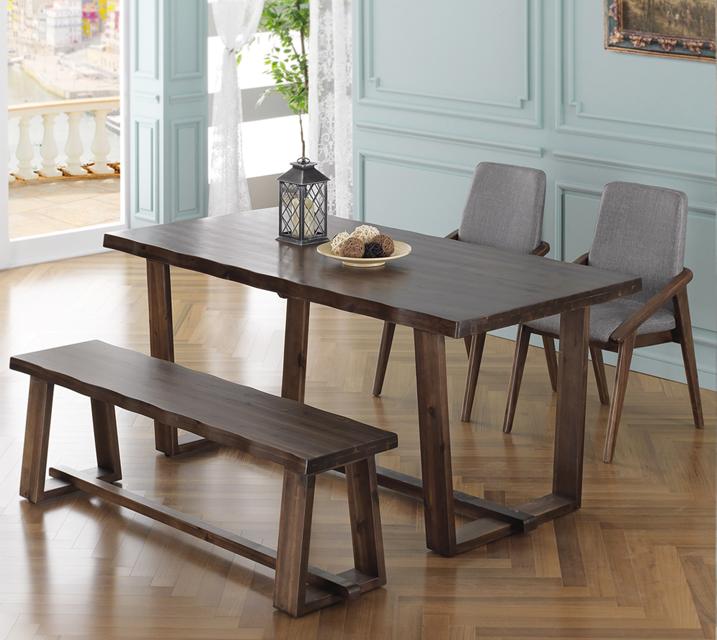 [렌탈]누리 망기움아카시아 원목 4인 식탁 세트 (벤치형 / 의자2ea+4인벤치) / 월 31,800원