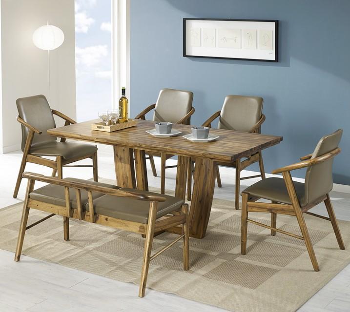 [렌탈]바네사 아카시아 원목 4인 식탁 세트 (벤치형 / 의자2ea+4인벤치) / 월 27,800원