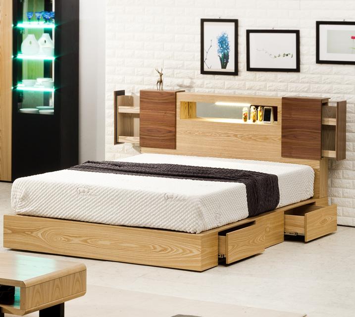 [한정렌탈]슈타인 LED조명 수납침대 퀸(Q) 침대세트 [독립소프트폼 매트리스 포함] / 월 39,800원