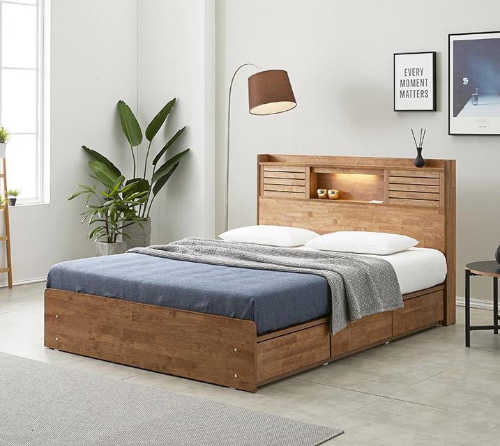 [한정렌탈] 아가타 고무나무 LED 3단 서랍 침대 퀸 (Q) 침대세트 [독립소프트폼 매트리스포함]/ 월 33,800원