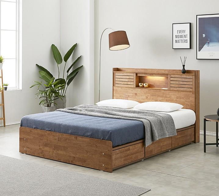 아가타 고무나무 LED 3단 서랍 침대 퀸 (Q) 침대세트 [독립매트리스포함]/ 월 59,800원