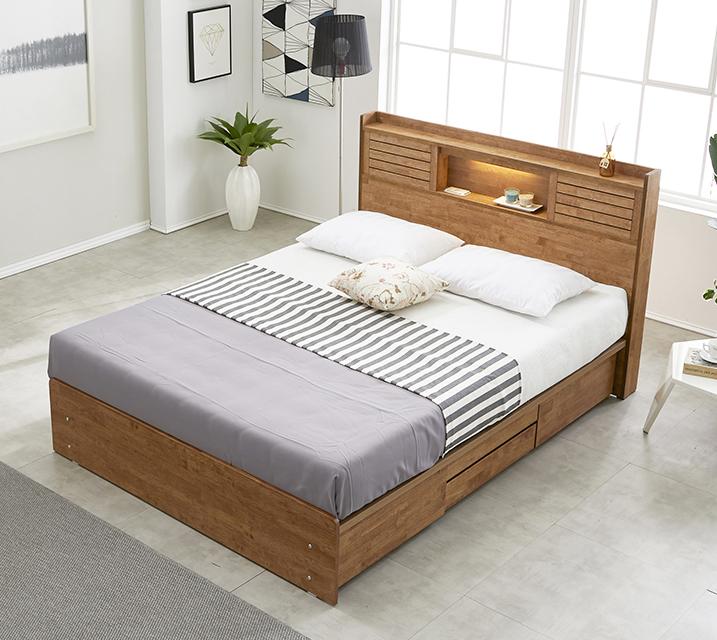 [한정렌탈] 아가타 고무나무 LED 4단 서랍 침대 퀸 (Q) 침대세트[독립소프트폼 매트리스포함] / 월 35,800원
