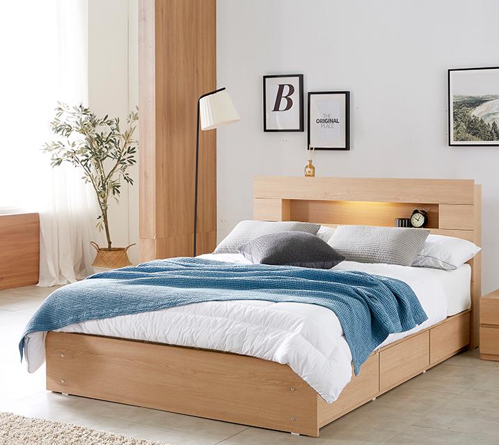 [한정렌탈] 유안 LED 3단 수납 침대 퀸 (Q) 침대세트 [독립소프트폼 매트리스포함] / 월 27,800원