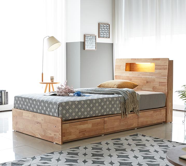 코이 고무나무 LED 3단 서랍 침대 슈퍼싱글 (SS) [독립매트리스 포함]  / 월 45,800원