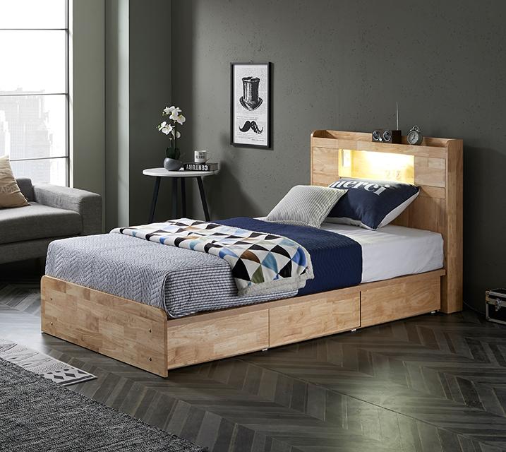 체리 고무나무 LED 3단 서랍 침대 슈퍼싱글 (SS) 침대세트[독립소프트폼 매트리스포함]/ 월 53,800원