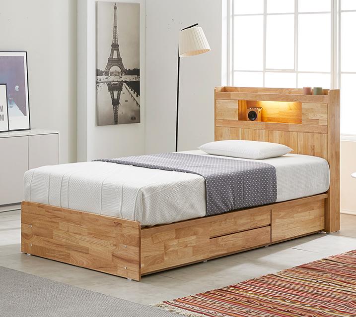 체리 고무나무 LED 4단 서랍 침대 슈퍼싱글 (SS) 침대세트[독립소프트폼 매트리스포함] / 월 55,800원