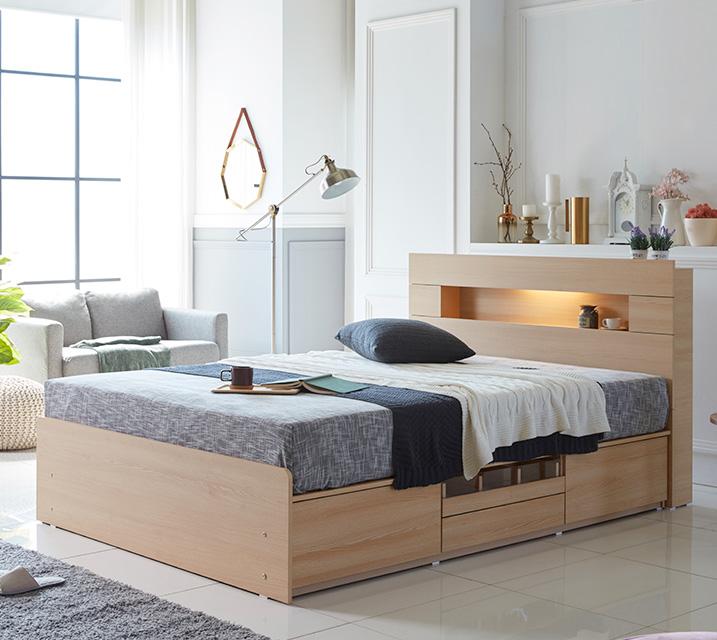[한정렌탈] 이리나 LED 4단 수납 침대 퀸 (Q) 침대세트 [독립소프트폼 매트리스포함] / 월 27,800원
