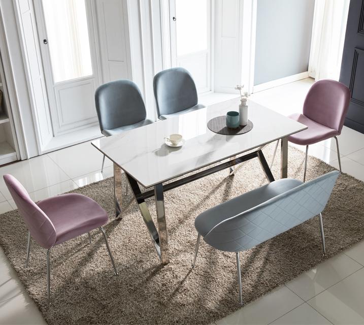 [렌탈] 브롬 세라믹 4인 식탁 세트 (벤치형/의자2ea+4인벤치) /월 41,800원 (핑크색의자로출고)
