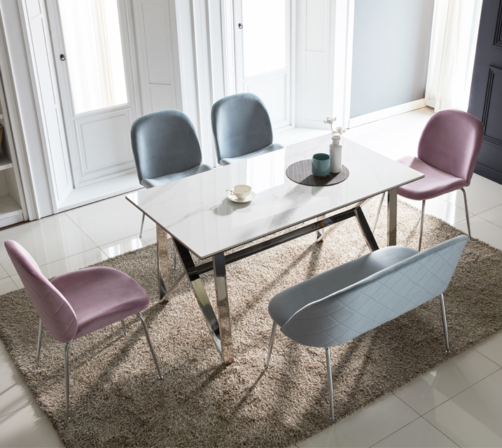 [렌탈] 브롬 세라믹 6인 식탁 세트 (벤치형/의자3ea+6인벤치) /월 49,800원 (핑크색의자로출고)
