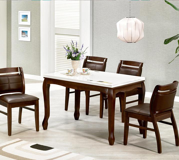 [렌탈] 블란치 천연대리석 4인 식탁 (벤치형 / 의자 2ea+4인벤치) / 월 25,800원
