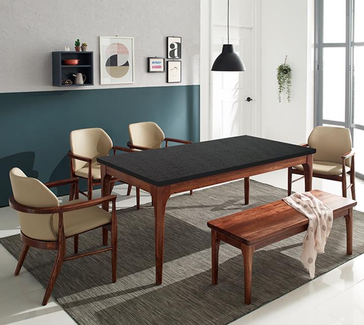 [렌탈] 케이트 천연화산석 4인 식탁 세트 (벤치형 / 의자 2ea + 4인 벤치) / 월 37,800원