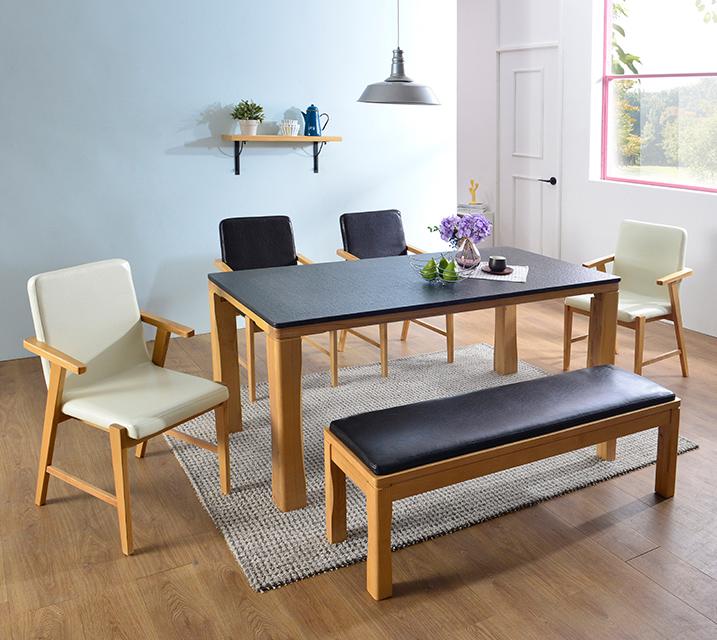 [렌탈] 린다 천연화산석 4인 식탁 세트 (벤치형 / 의자 2ea + 4인벤치) / 월 45,800원