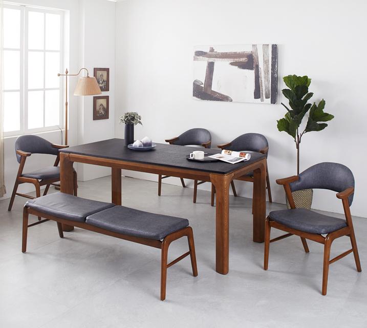 [렌탈]토르 애쉬원목 화산석 6인 식탁 세트 (의자형 / 의자6ea)  / 월 57,800원