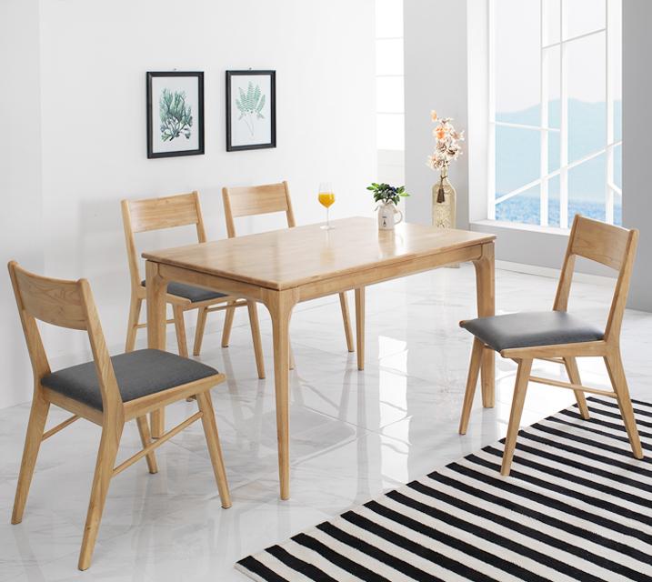[렌탈]그레텔 고무나무 원목 4인 식탁 세트 (의자형 / 의자4ea)  / 월 25,800원