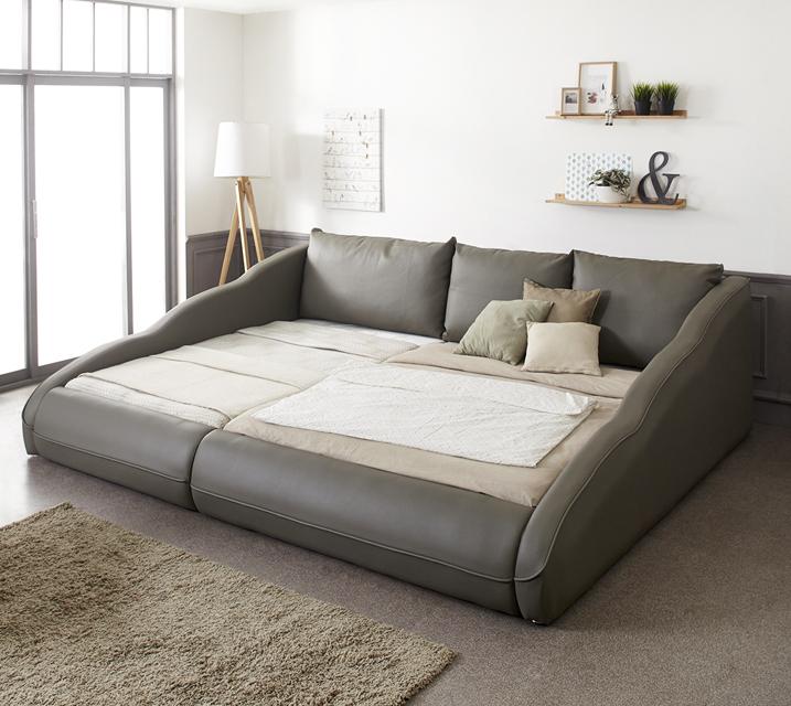 [렌탈]지안 샤무드가죽 저상형 패밀리 침대 Q+SS (플라스틱 깔판 포함) / 월49,800원