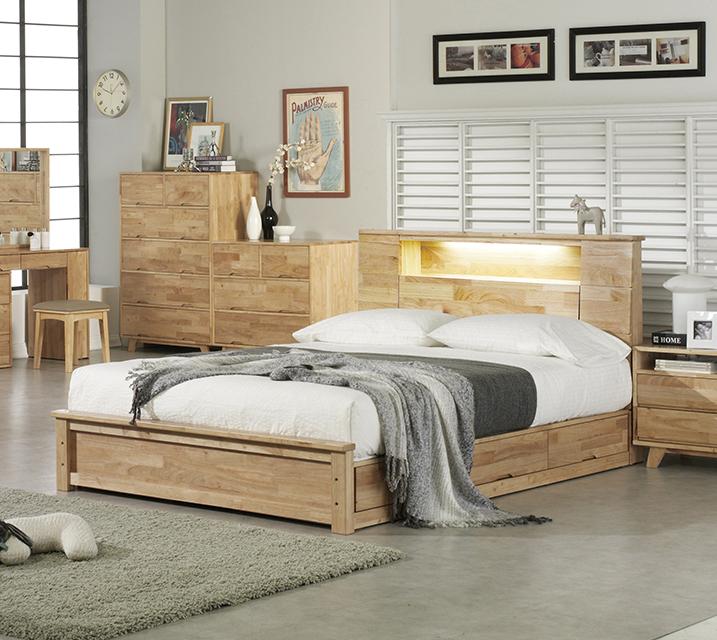 로에 LED 조명 수납형 고무나무 원목 침대 퀸(Q)  [독립소프트폼 매트리스 Q 포함] / 월 65,800원