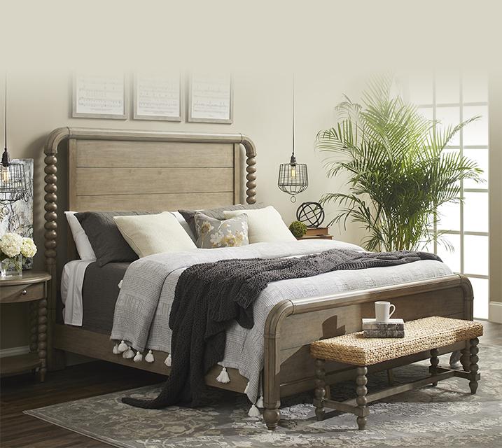 [렌탈] 750 Nashville Collection Panel Bedroom EK Set [침대프레임+화장대+거울+협탁] / 월 151,800원