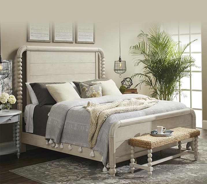 [렌탈] 749 Nashville Collection Panel Bedroom EK Set [침대프레임+화장대+거울+협탁] / 월 151,800원