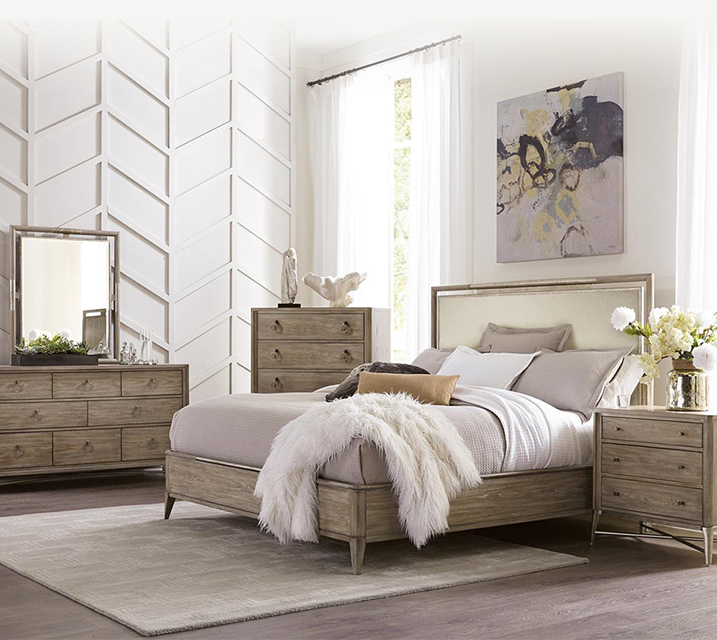 [렌탈] 50378 Sophie Upholstered Panel Bedroom EK Set [침대프레임+화장대+거울+협탁] / 월 131,800원