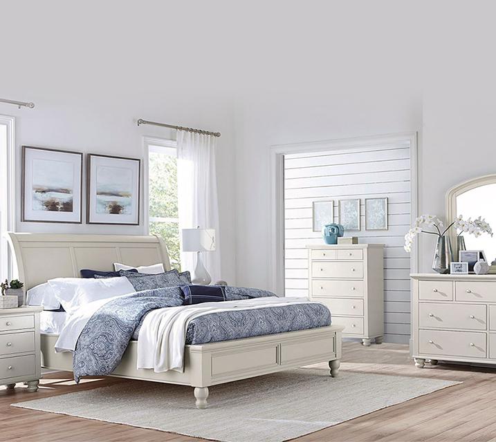 [렌탈] ICB Cambridge Sleigh Bedroom EK Set - Eggshell [침대프레임+화장대+거울+협탁] / 월 113,800원