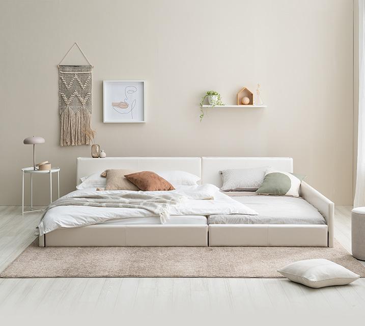 데이지 패밀리 침대 [화이트] Q+Q+PVC 깔판 / 월 27,800원