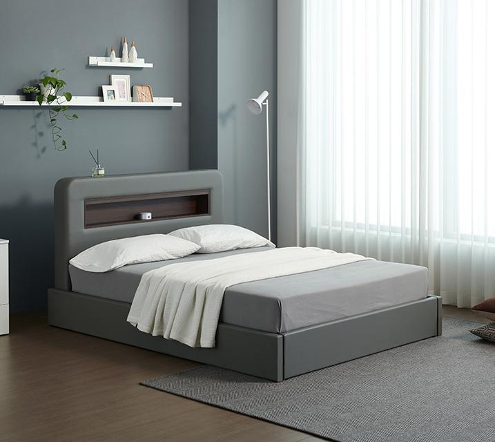 [렌탈] 튜베 LED 헤드 수납 가죽 침대 세트 슈퍼싱글(SS) +본넬 매트리스포함 / 월 17,800원