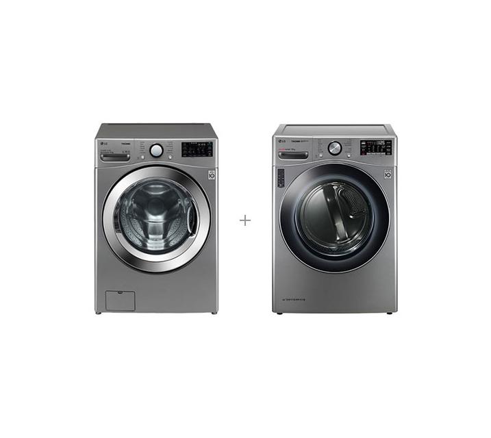 [S] LG 트롬 드럼세탁기 21kg+트롬 히트펌프 건조기 16kg 모던스테인리스 F21VDU+RH16VTN / 월 82,000 원