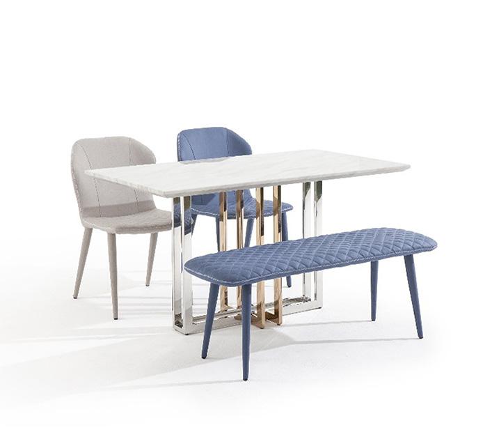 루나리스 대리석 4인 식탁세트 (의자2ea, 벤치1ea) / 월 59,800원