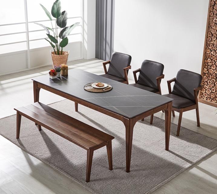 샤비 세라믹 6인 식탁세트 + 의자/벤치포함 (벤치형/벤치1ea+의자3ea)/ 월 41,800원